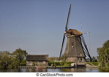 A windmill at Kinderdijk