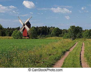 A windmill in the field