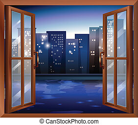 A window across the tall city buildings