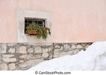 a window in the snow