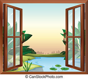 A window near the pond
