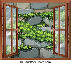 A window near the stonewall