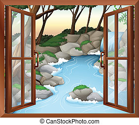 A window near the waterfalls