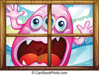 A window with a monster - Illustration of a window with a...