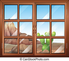 A window with a view of the cactus outside