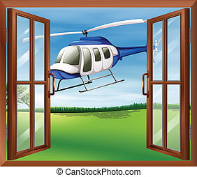A window with a view of the chopper