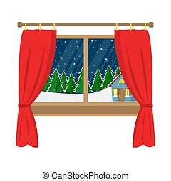 A window with a view of the decorated house in the woods. Christmas window. Flat cartoon illustration.