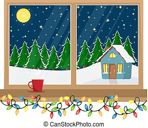 A window with a view of the decorated house in the woods. Christmas window with garland. Flat cartoon illustration.