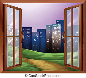 A window with a view of the tall buildings