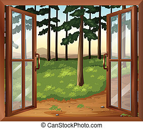 A window with a view of the trees