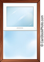 A window with wooden frame