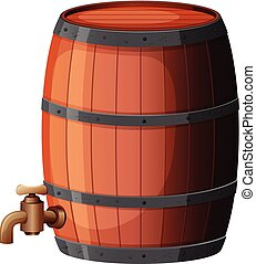 A Wine Barrel on White Background