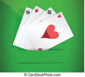 A winning poker hand of four aces