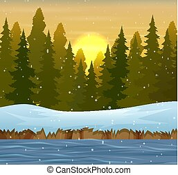 A winter forest landscape at sunset