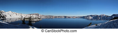 Crater Lake - A winter panorama of Crater Lake