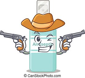 A wise cowboy of antiseptic Cartoon design with guns