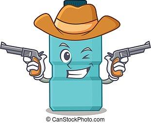 A wise cowboy of mouthwash Cartoon design with guns