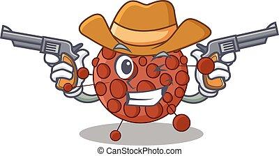 A wise cowboy of neisseria Cartoon design with guns