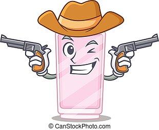 A wise cowboy of perfume Cartoon design with guns