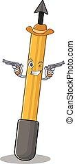 A wise cowboy of snorkeling arrow Cartoon design with guns