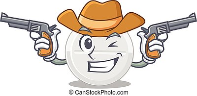 A wise cowboy of tablet drug Cartoon design with guns