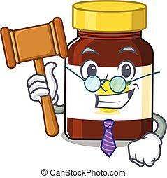 A wise judge of bottle vitamin c mascot design wearing glasses. Vector illustration