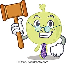 A wise judge of lymph node mascot design wearing glasses. ...
