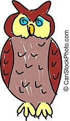 a wise old owl isolated on white drawn in toddler art style