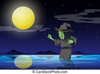 A witch at the beach