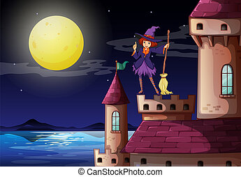 A witch at the castle with a purple dress