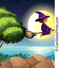 A witch flying with a broom in the middle of the night