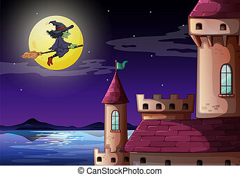 A witch going to the castle