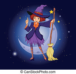 A witch holding a broom with a moon and stars at the back