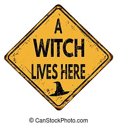 A witch lives here vintage  metal sign