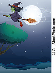 A witch riding a broom along the fullmoon