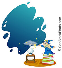 A wizard at the top of the piled books
