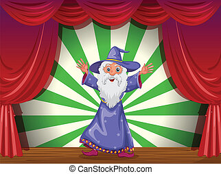 A wizard doing magic on the stage