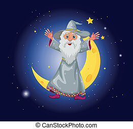 A wizard floating near the moon - Illustration of a wizard...