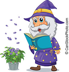 A wizard holding a book beside a pot with plant