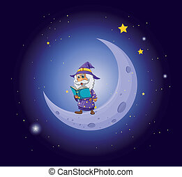 A wizard holding a book near the moon