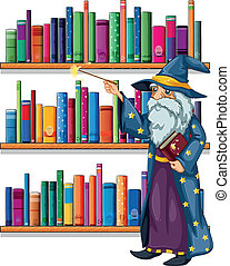A wizard holding a wand in front of the shelves with books