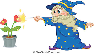 A wizard holding a wand pointing at the flowers