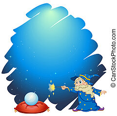 A wizard holding a wand with a crystal ball and a pillow