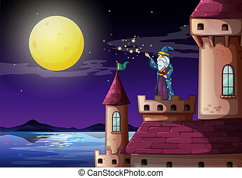 A wizard in the castle's tower