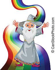 A wizard near the rainbow