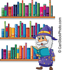 A wizard reading a book in front of the bookshelves