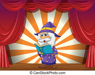 A wizard reading in the middle of the stage - Illustration...
