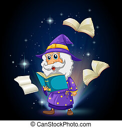 A wizard with many books