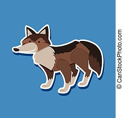 A wolf sticker character