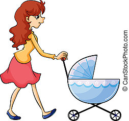 A woman and baby buggy - Illustration of a woman and baby...